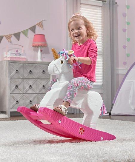 Step2 Pink & White Unicorn Rocking Horse