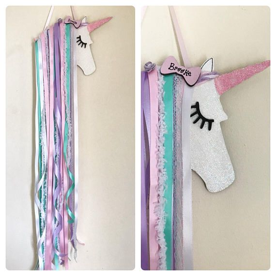 Tilley   Shabby Chic Unicorn Hair Bow Holder Wall Decor, Unicorn
