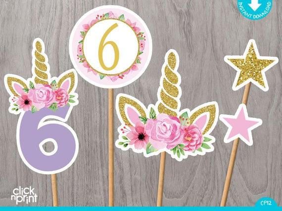 Unicorn 6th Birthday Centerpieces Print Yourself Printable