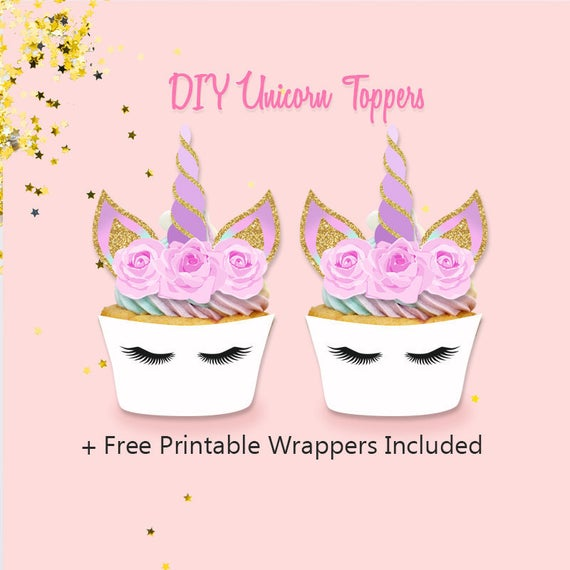 Unicorn Cupcake Toppers Diy Unicorn Toppers And Wrappers Diy