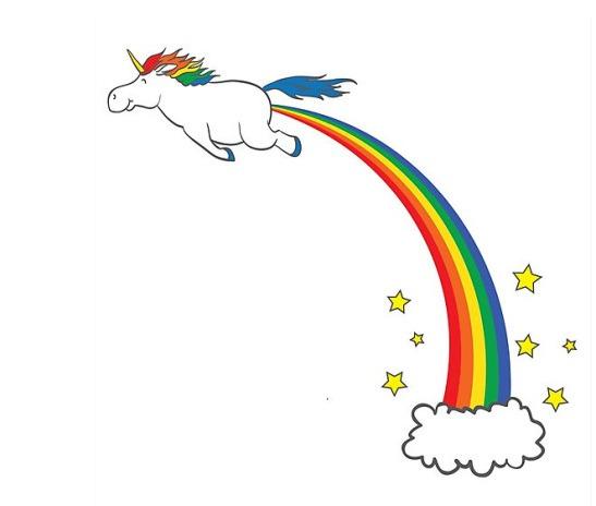Unicorn Farting Rainbows Blank Template
