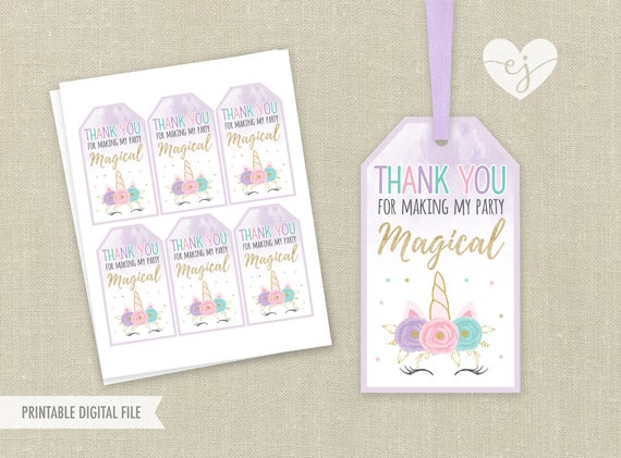 Unicorn Favor Tags Printable Favor Tags Unicorn Birthday