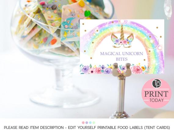 Unicorn Food Labels Instant Download Buffet Food Labels