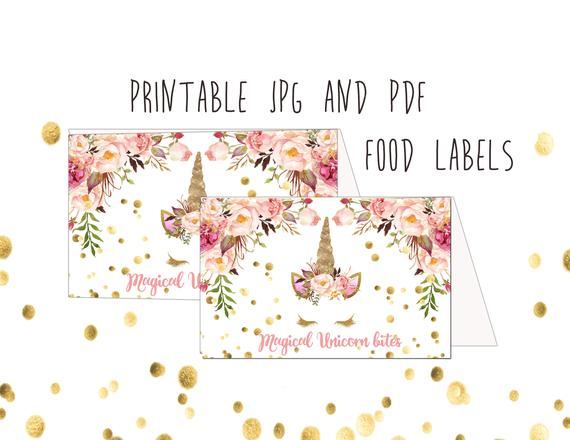 Unicorn Food Labels Instant Download Buffet Food Labels Name