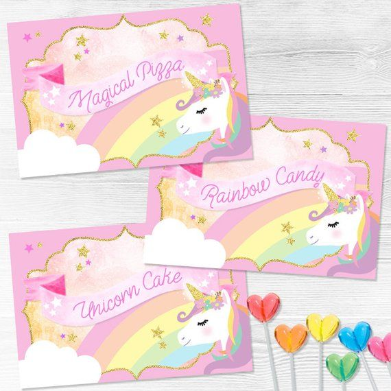 Unicorn Food Tent Cards   Unicorn Food Signs   Unicorn Party Decor