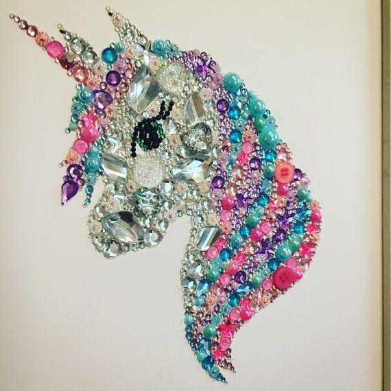 Unicorn Gift Unicorn Picture Swarovski Crystal Button Decoration