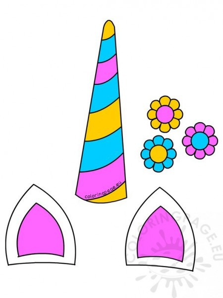 Unicorn Horn Ears And Flowers Printable – Coloring Page