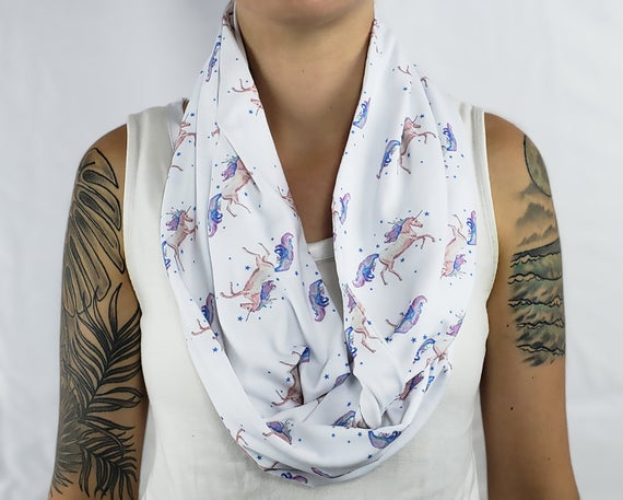 Unicorn Infinity Scarf Gift Magical Gift For Her Soft Jersey