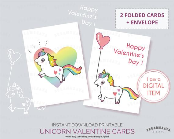 Unicorn Valentine Cards For Kids Printable Valentine Unicorn