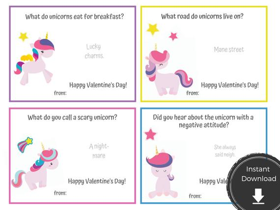 Unicorn Valentine Printable With Jokes Instant Download