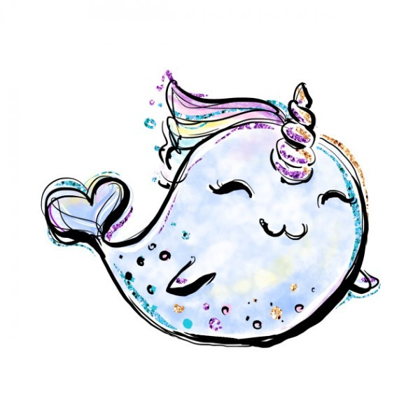 Unicorn Whale, Cute Unicorn Narwal