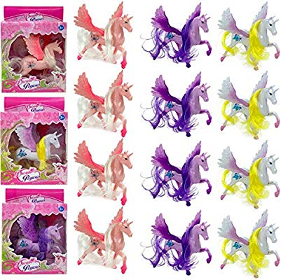 12 Pack Plastic 4 Inch Unicorn Figures