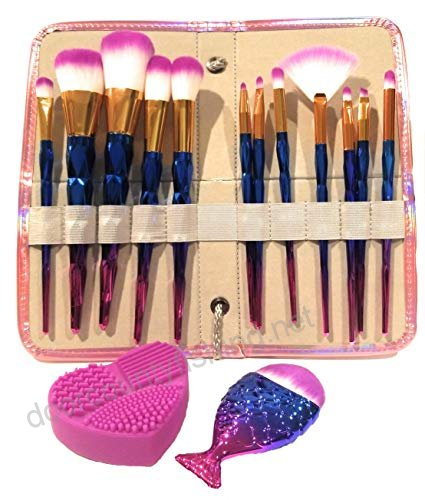 12pc Unicorn Makeup Brush Set W Rainbow Diamond Handles