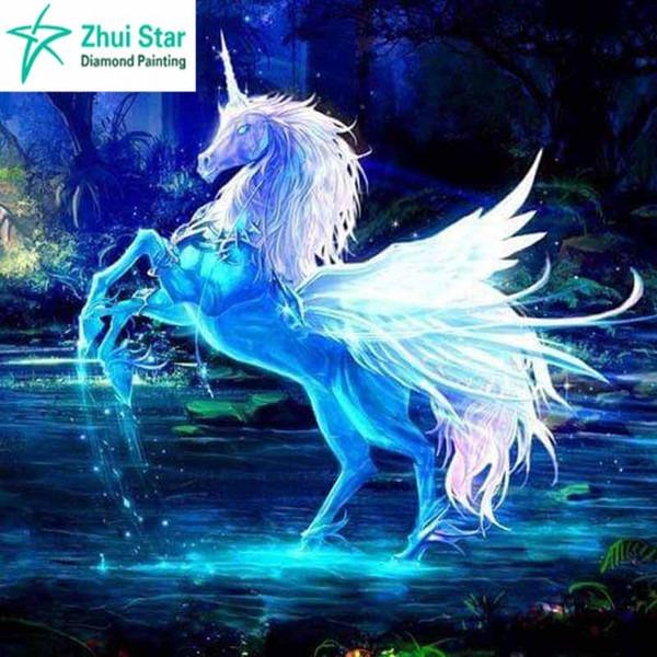2019 Diamond Embroidery Pegasus Unicorn Paintings Crystal 5d Cross