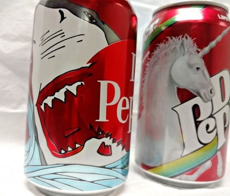2) Dr  Pepper Limited Edition Shark Can & Unicorn Can 2017 New
