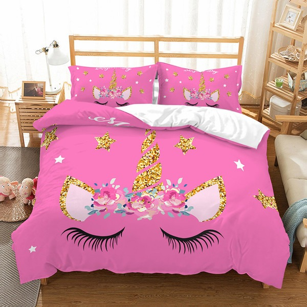 3d Flower Pink Unicorn Bedding Set Queen Size Kids Cartoon Duvet