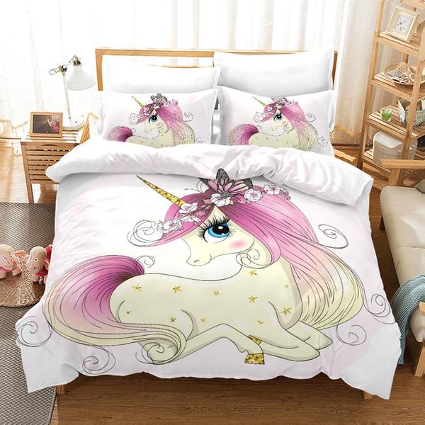 3d Kids Bedding Set Single Size Pink Cartoon Flower Unicorn Duvet