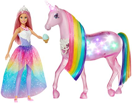 Amazon Com  Barbie Fxt26 Dreamtopia Magical Lights Unicorn With