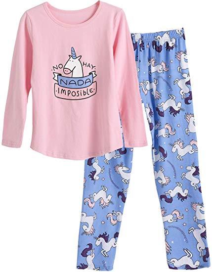 Amazon Com  Big Girls Unicorn Cotton Pajama Set Pants & Long