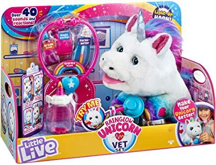 Amazon Com  Little Live Rainglow Unicorn Vet Set