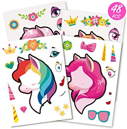 Amazon Com  Mocoosy 48 Make A Unicorn Stickers For Girls