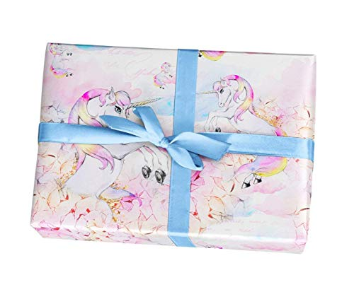 Amazon Com  Rainbow Unicorn Birthday Wrapping Paper Gift Sheets