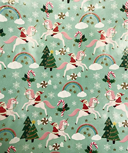 Amazon Com  Whimsical Santa Riding Pink Unicorn Gold Glitter