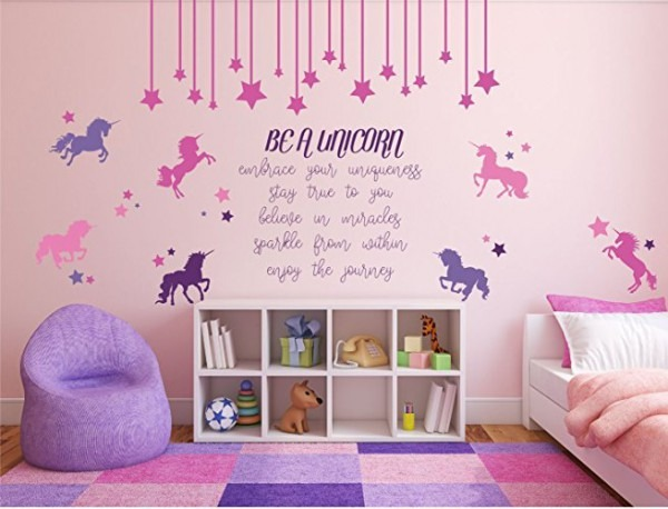 Be A Unicorn  Full Wall Mural With Quote, Unicorn, And Stars