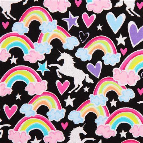 Black Unicorn & Rainbow Fabric By Timeless Treasures