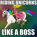 Cat Riding Unicorn Rainbow
