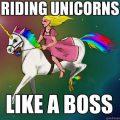 Cat Riding Unicorn Rainbow