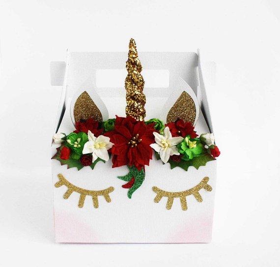 Christmas Unicorn Gable Box Unicorn Christmas Gift Box  Christmas
