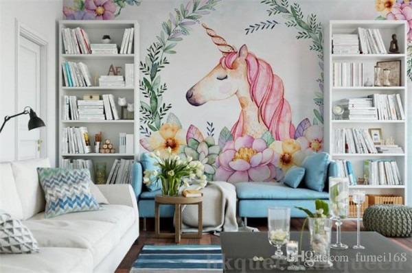 Custom Mural 3d Wallpaper Hand Draw The Leaves Unicorn Decor