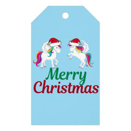 Cute Merry Christmas Unicorn Gift Tags