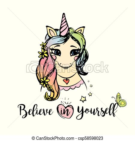 Cute Unicorn Girl With Inscription