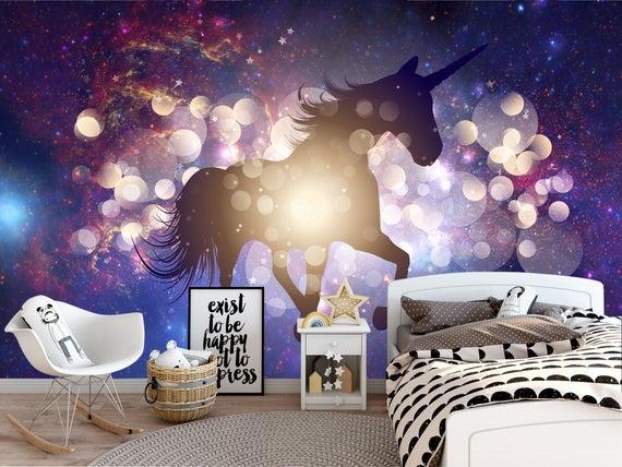 Dark Space Wallpaper For Nursery  Unicorn Wallpaper Kid