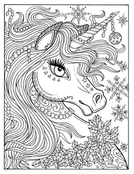 Difficult Unicorn Coloring Pages Unicorn Christmas Coloring Page