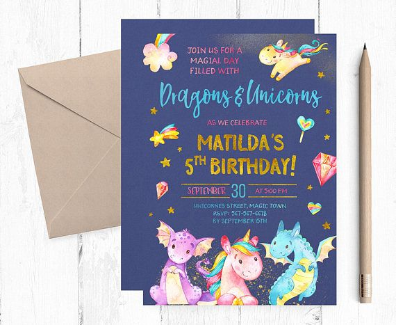 Dragons And Unicorns Invitations, Dragons And Unicorns Invites
