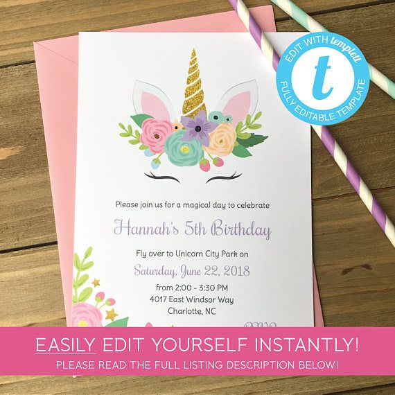 Editable Unicorn Birthday Party Invitation, Instant Download