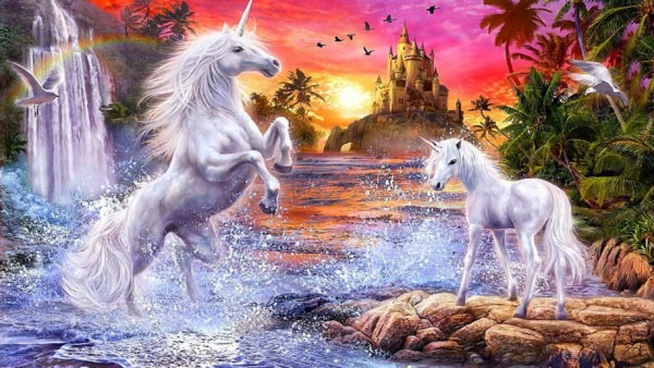 Fantasy Unicorns Castle Sunset River Falls Palm Flowers Birds