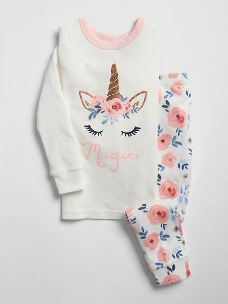 Gap Baby Glitter Unicorn Pj Set New Off White
