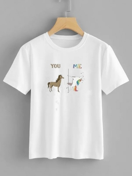 Hahayule Jbh New You, Me Pole Dancing Unicorn Women& 39;s T Shirt