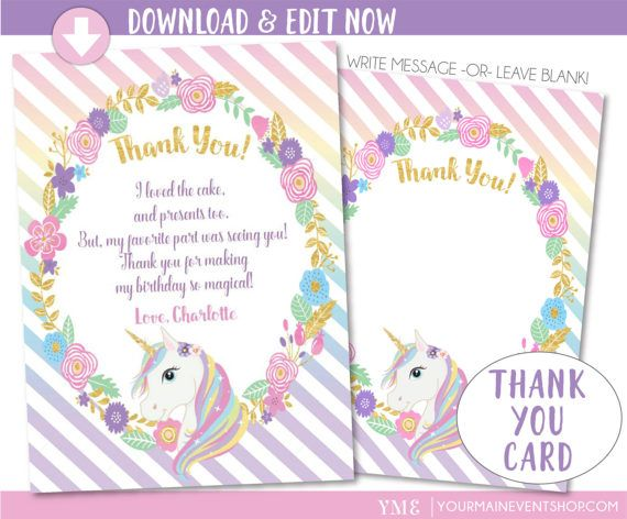 Instantly Download This Unicorn Thank You Card And Edit At Home