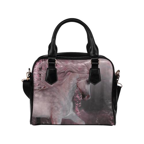 Interestprint Pink Cherry Blossom Unicorn Women's Pu Leather Purse