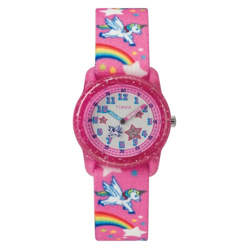 Kid's Timex Watch With Unicorns And Rainbows Strap