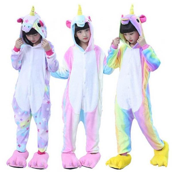 Kids Unicorn Pajamas Kigurumi Onesie,children Animal Stars Unicorn