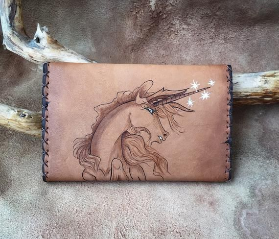 Leather Purse Unicorn  Leather Engraving Wallet  Womanwallet