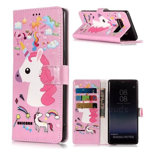 Love Rainbow Unicorn Pu Leather Wallet Phone Case For Samsung