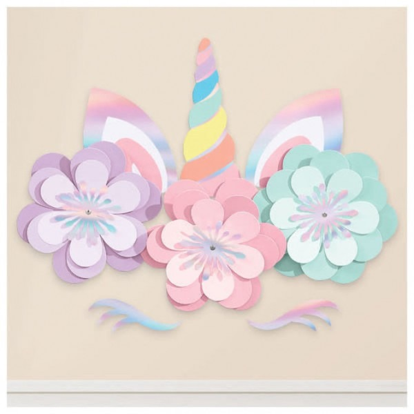 Magical Rainbow Birthday Unicorn Wall Decorating Kit