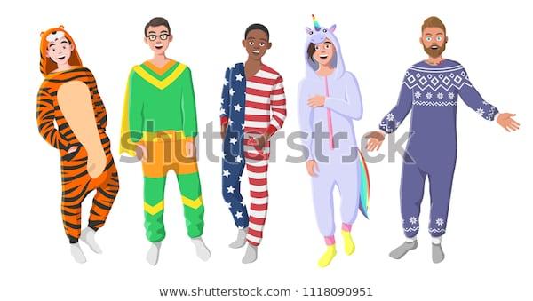 Mens Plush Onepiece Pajamas Hooded Onesie Stock Vector (royalty